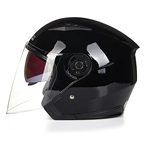 shoppaopaoバイクヘルメット ジェットヘルメット JIEKAI JK-512 超人気 Bike Helmet メンズ レディース 10色選択可 艶ブラック(透明シールド)XL