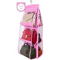 (ボラ-キキ) Bole-kk 吊り下げ 収納 バッグ 鞄収納 パッと見える 両面3段式 6個収納 ハンガー付き クローゼット収納 整理整頓 ピンク