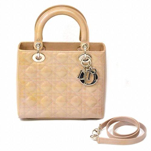 クリスチャン ディオール Christian Dior レディディオール カナージュ 2WAY ショルダーバッグ パテント ベージュピンク シルバー金具 中古