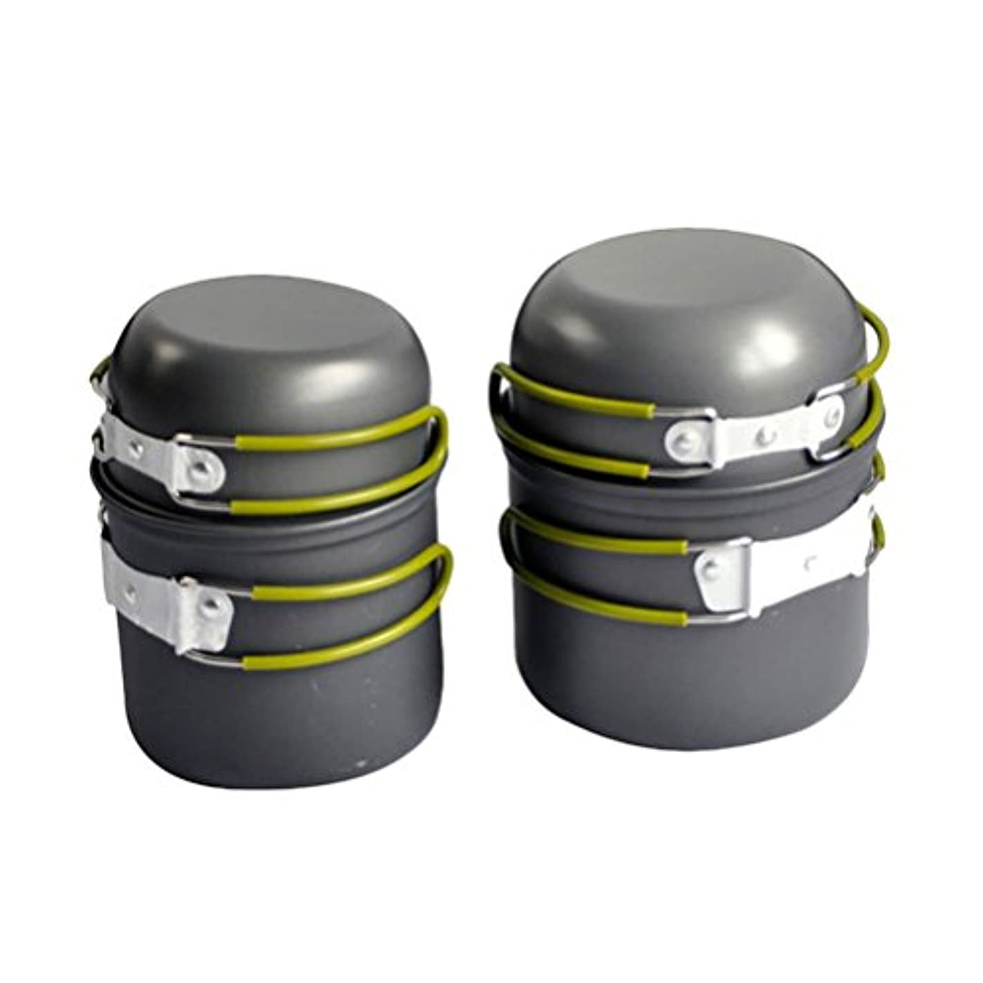 ユーモア移動するガイドラインZhhlinyuan Hi-Quality 4X Picnic Cooking Set Anodised Aluminium Pot Pan Cookware Outdoor Camping Hiking