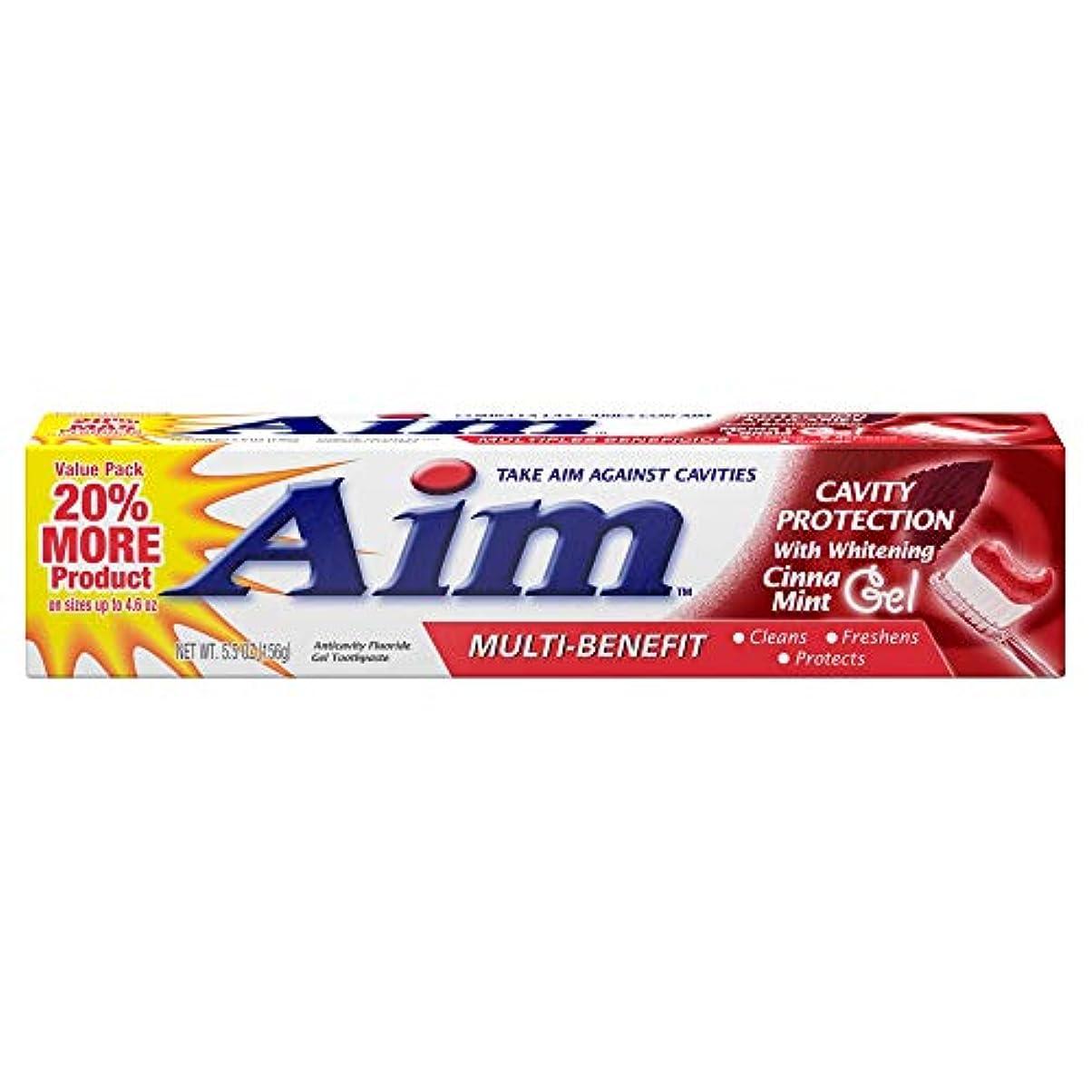 ビール地震本能AIM キャビティ保護アンチキャビティの歯磨き粉、ミント、5.5オンスを目指します