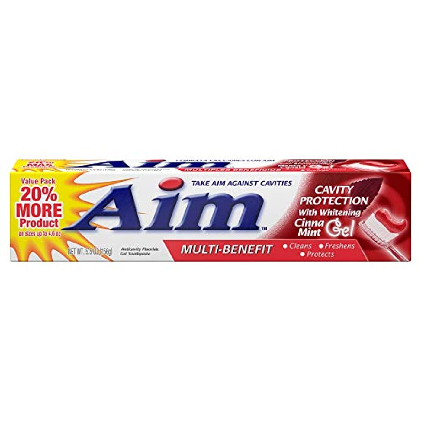 ナンセンスカルシウムシリンダーAIM キャビティ保護アンチキャビティの歯磨き粉、ミント、5.5オンスを目指します