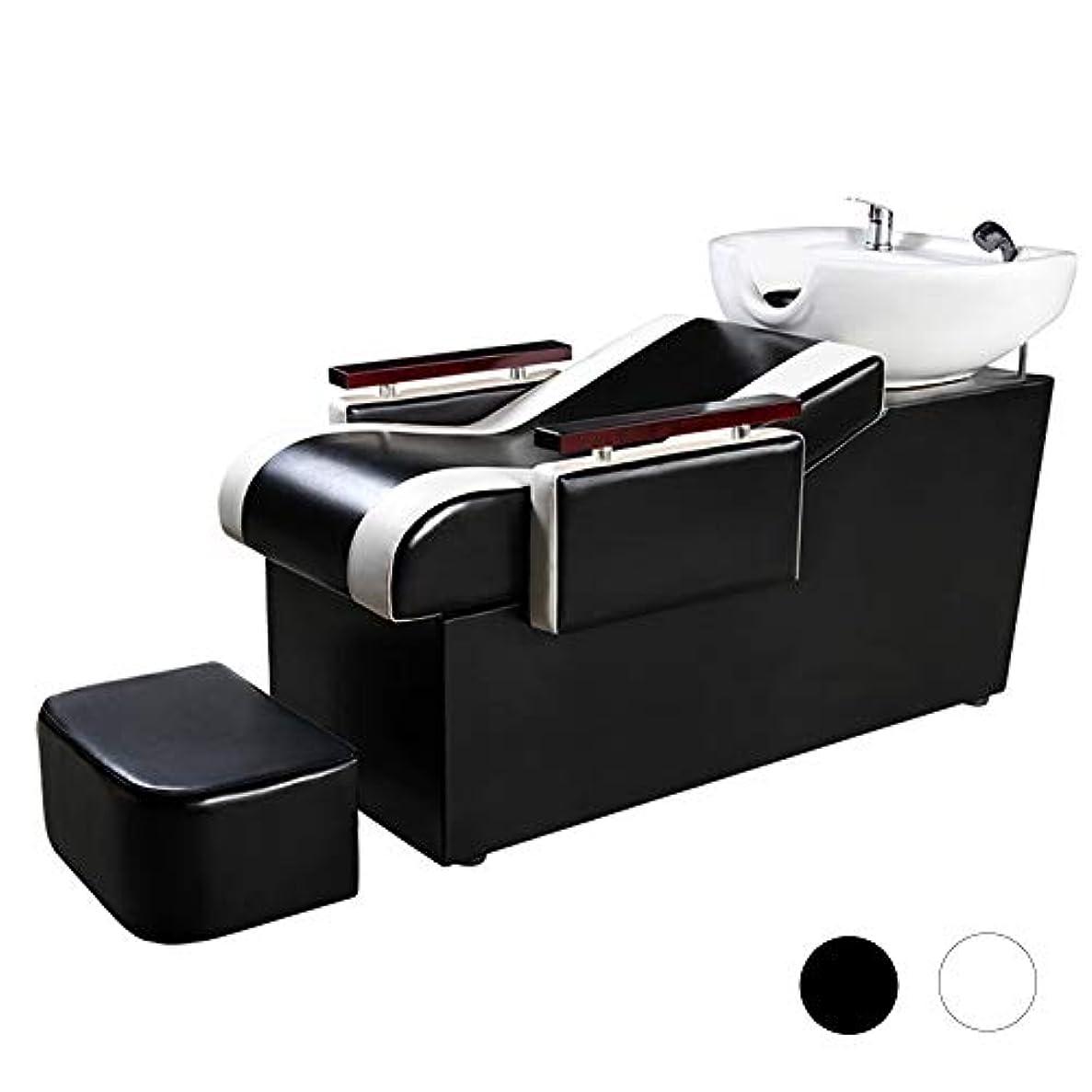 パッチエチケット自分のためにシャンプーチェア、スパ用美容院設備用シャンプーボウル理髪シンクチェアシャンプーベッド(ブラック)