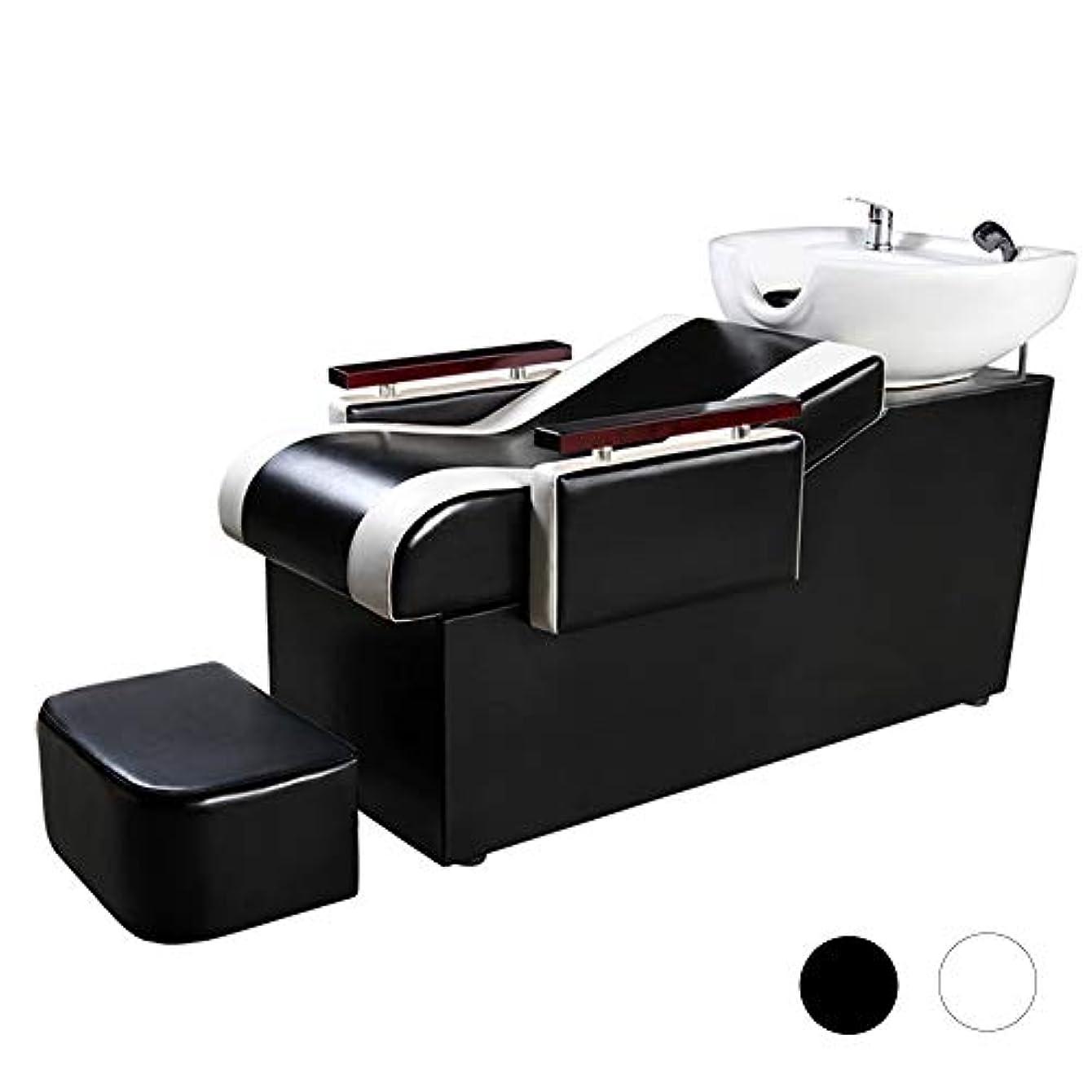 足首慣れている驚シャンプーチェア、スパ用美容院設備用シャンプーボウル理髪シンクチェアシャンプーベッド(ブラック)
