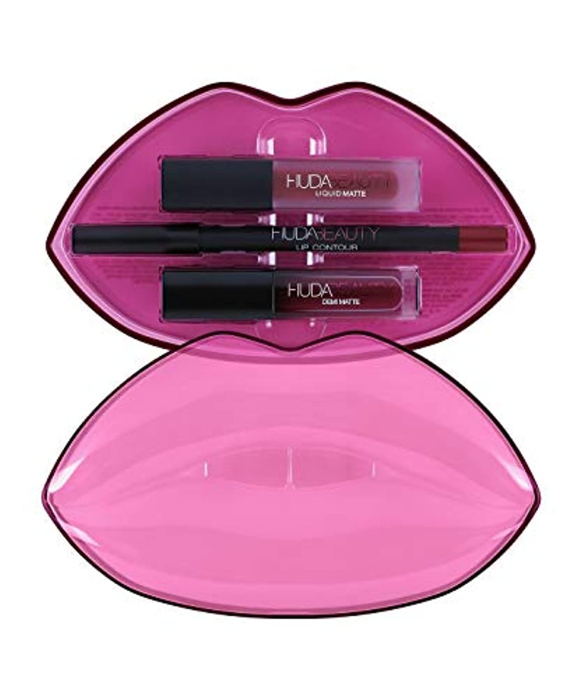 巧みな階下媒染剤HUDABEAUTY フーダビューティ リップ Demi Matte & Cream Lip Set Bawse & Famous