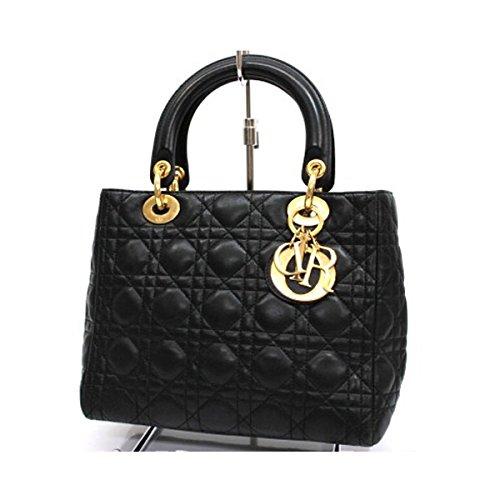(クリスチャン・ディオール) Christian Dior ラムスキン レディディオール ハンドバッグ ブラック [中古]