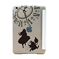 iPad mini4 ケース スマートカバー 一体型 薄型 シェルケースアリス×ラビット (B) BIG時計 ブラック [ホワイト] オートスリープ機能 スタンド仕様 apple ipad mini 4 アイパッド アップル