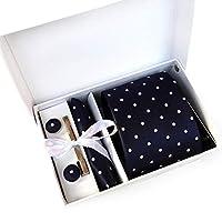 MFYS メンズ ネクタイ ピン カフス ボタン チーフ 5点セット 11色選択可能 ビジネス 就活 結婚式 入学式 卒業式 二次会 冠婚葬祭 パーティー 父の日 プレゼント ギフトボックス付き (Style-5)