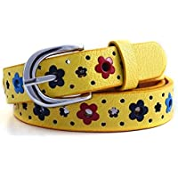 QGT Belt Flowers Pattern Hollow PU Leather Belt for Children(Black) (Color : Yellow)