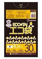 ゴミ袋 ECOTAI ECO 30L 500x700x0.025厚 黒 10枚x100冊/箱 LLDPE素材