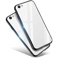 iPhone8 ケース / iPhone7 ケース, Aunote TPU 強化ガラスケース かわいい おしゃれ 耐衝撃 薄型 ハードケース ストラップホール付き(アイフォン8ケース / アイフォン7ケース ホワイト)