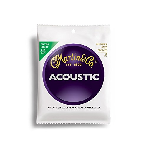 Martin アコースティックギター弦 ACOUSTIC?(80/20 Bronze) Multi Packs M-170 PK3 Extra Light .010-.047