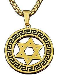 GoldenヴィンテージステンレススチールStar of David Jewish Isrelチャームペンダントネックレス
