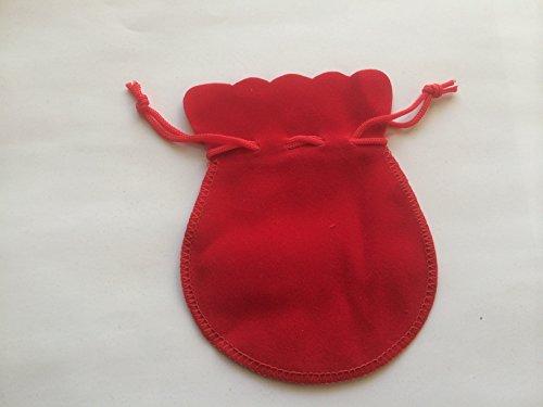 [해외]액세서리 저장 선물용 파우치 스티치 포인트 벨벳 백이 M 사이즈 레드 × 3 개 세트 | 포장 포장 벨벳 풍의/Storage of accessories · Pouch for presents Stitch point Betch drawstring bag M size red × 3 sheets set | packaging wrapping Vel...