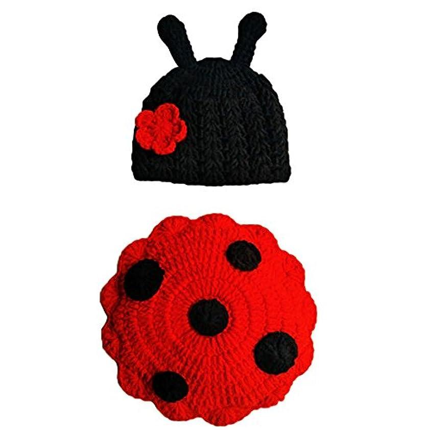 テキストミットピアベビー ニットハット ベビーコスチューム 毛糸 手編み テントウ虫の扮装 着ぐるみ 記念撮影 出産祝い