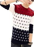 【Wild Cats】メンズ ニット セーター 長袖 Tシャツ トライカラー クルーネック 薄手 綿 春 秋 トップス 服 エコバッグ付き