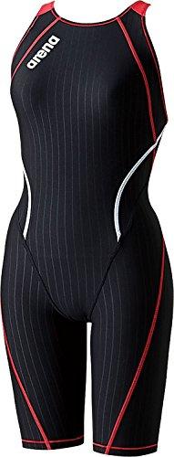 arena(アリーナ) レディース 競泳水着 練習用 タフスーツ ハーフスパッツ 脚付きタイプ SAR-6100W Kブラック×Aレッド×レッド×ホワイト S