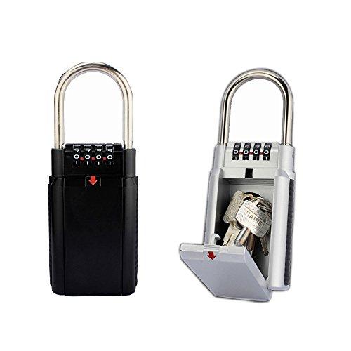 XIUCHUN 安心・安全 鍵の収納ボックス キーボックス 南京錠 旅行も対応 暗証番号で鍵を保管 防犯 盗難防止 4桁ダイヤル式 小型 (black)