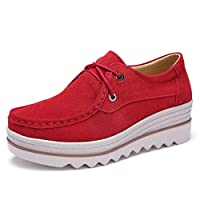 [Cozy Maker] C&M スリッポン 靴 防滑 スエード調 ウェッジソール 無地 スニーカー 厚底 レースアップ靴 (22.5cm, レッド)