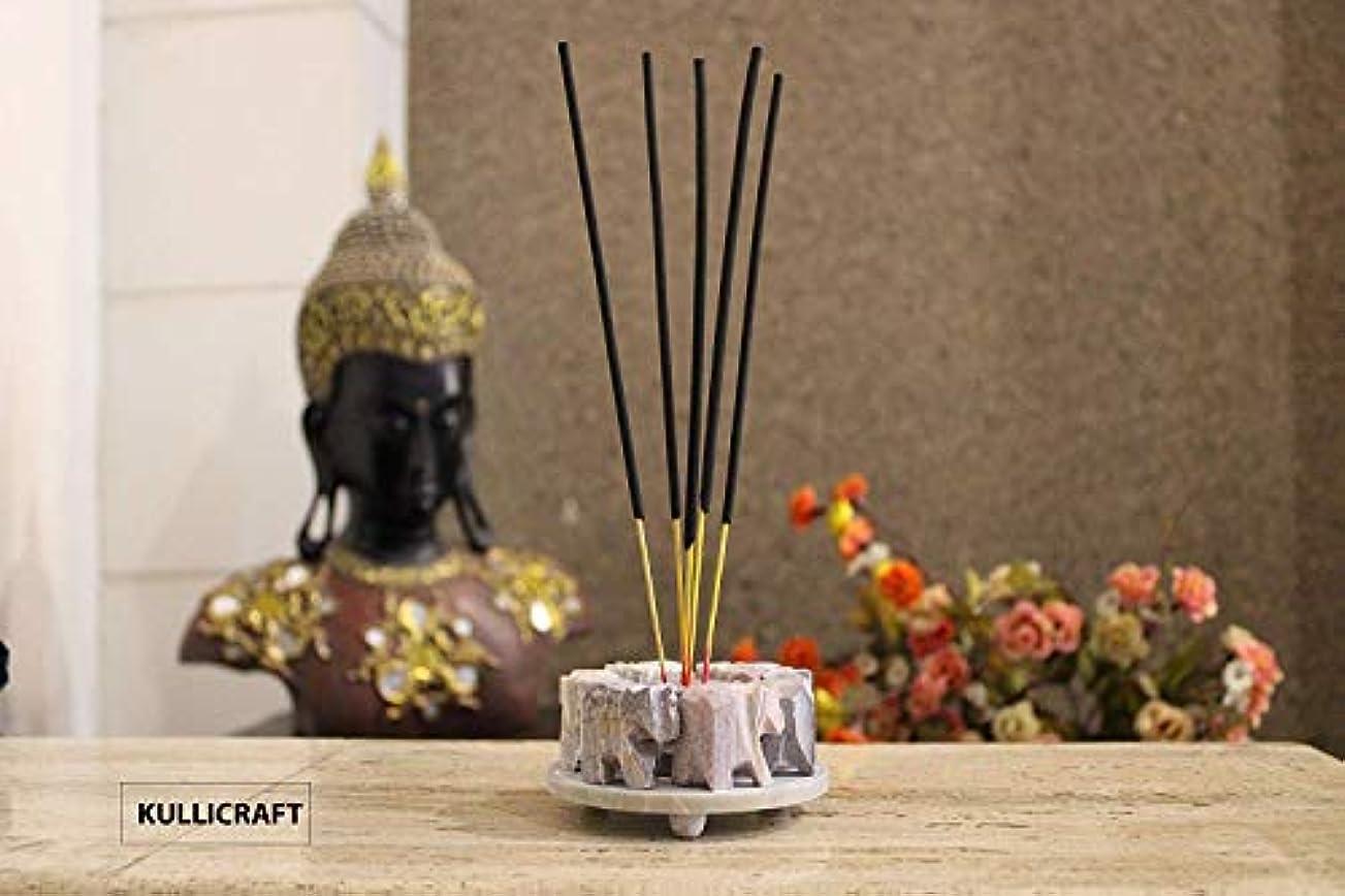 エレメンタル宿題をする受粉するKC KULLICRAFT Soapstone Decorative Hand Carved Elephant Ring Designed Incense Holder for Home Décor Gift