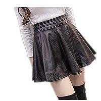 女性の秋の大型ストレッチハイウエストレザースカート