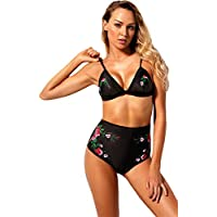 2 PC Floral Embroidered Embroidery Padded Bikini Top and Highwaist Bikini Bottom Swimwear Swimsuit Bathing Suit Beach Wear Beachwear Swimming Suit Set