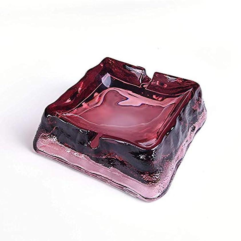 死どうしたの理解たばこ用の素晴らしい時間ガラスクリスタル灰皿、屋内または屋外での使用、ホームオフィスカフェバー用の卓上美しい装飾(ワインレッド)