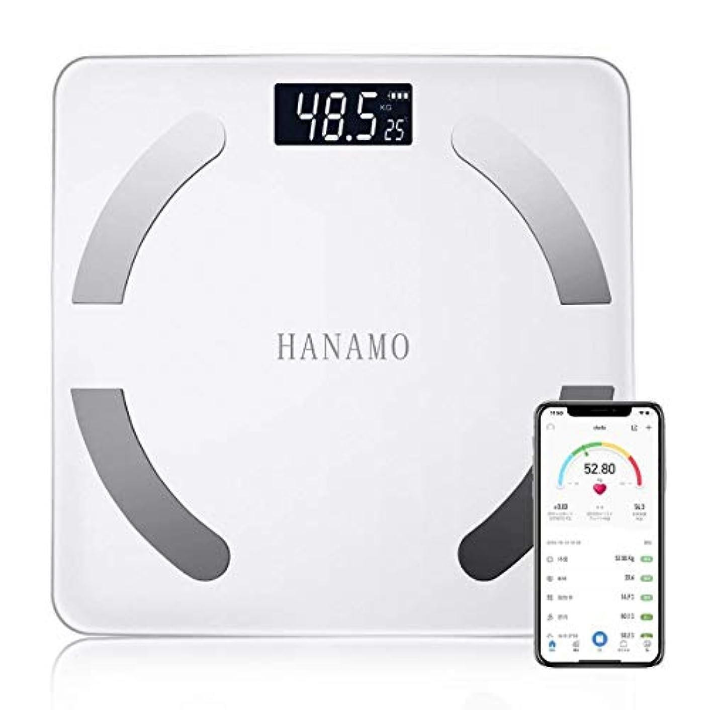 ディスク幻想フォーカスHANAMO 体重計 体組成計 体脂肪 高精度 体重/BMI/脂肪率/筋肉/水比記録/内蔵脂肪/骨量/基礎代謝量 測定可能Bluetooth スマホ対応 ダイエット 体重管理 肥満予防 iOS/Androidアプリで健康管理...