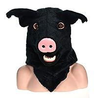 WENQU 新しいデザインフルスーツ手作りのカスタマイズされたフルニットカーニバル移動口マスクホワイト豚シミュレーション獣マスク ( Color : Black )
