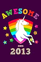 Awesome Since 2013: Unicorn Draw & Write | Blank Half Drawing Sketch Book & Wide Ruled Lined Paper | Magical Purple Cover for Young Girls Born this Year | Workbook Notepad for Kids at Home & School | Create, Learn to Draw with a Writing Pad & Sketchbook