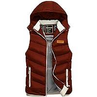 Bestgift Men's Removable Hood Zipper Thick Warm Puffer Vest