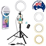 Selfie Ring Light with Tripod & Cell Phone Holder + BONUS Compact Portable Ring Light for Devices, Multi-Functional, Professional or Amateur, Video & Photography, Live Streaming, Youtubers, Bloggers, Makeup Artists, Musicians, Teachers.