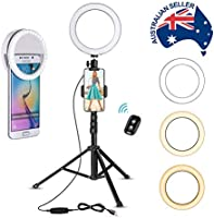 Selfie Ring Light with Tripod & Cell Phone Holder + BONUS Compact Portable Ring Light for Devices, Multi-Functional,...