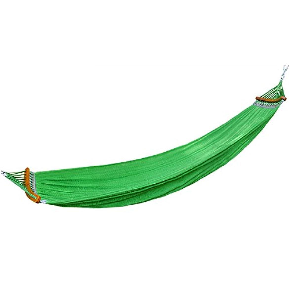 飛ぶ鉄ニュージーランドQFFL diaochuang ハンモックナイロンロープ通気性メッシュハンモック室内?屋外ダブル快適レジャーハンモック安定したアンチロールオーバーハンモック (色 : Green)