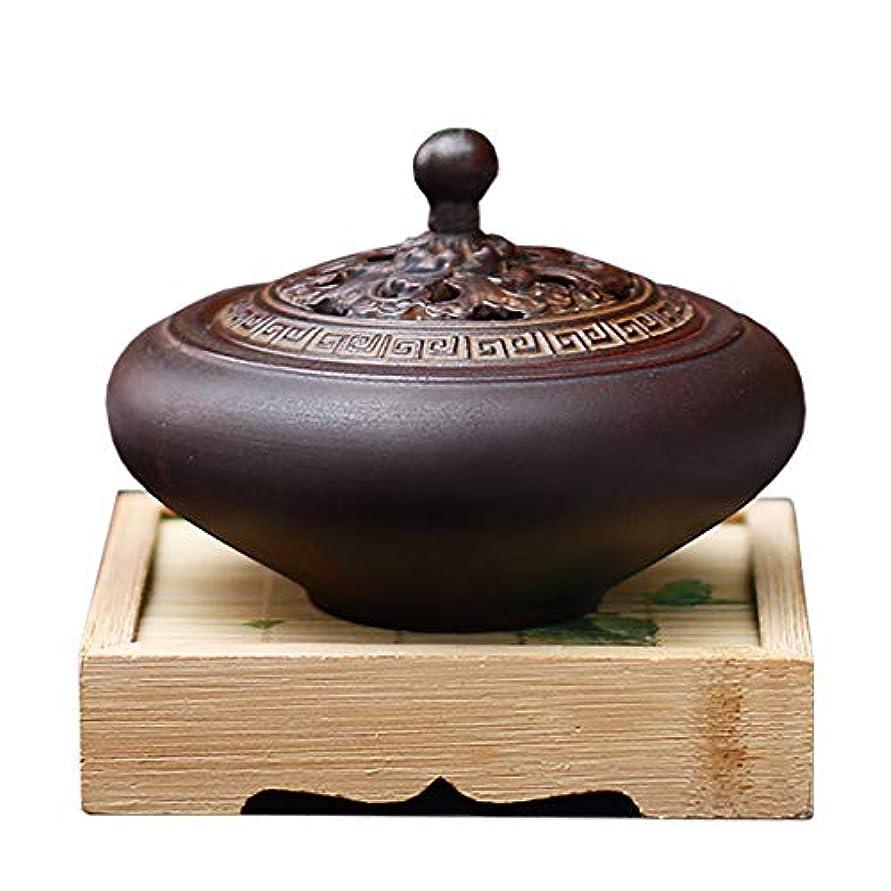 出費魅惑的な私HAMILO 蓋付香炉 陶器 中国風 古典 アロマ 癒し 香道 お香 コーン 抹香 手作り 木製台付 (ブラウン)