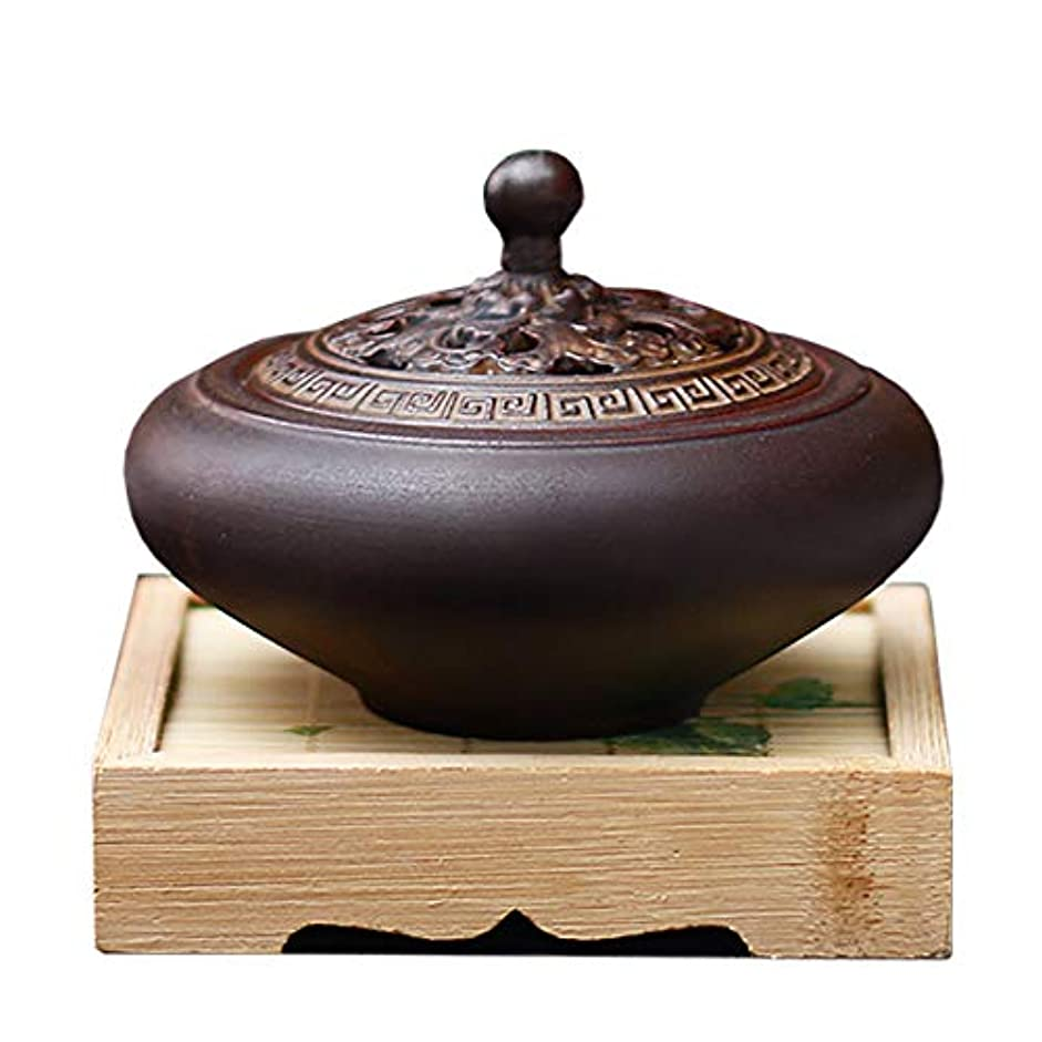 冷蔵庫補う統治するHAMILO 蓋付香炉 陶器 中国風 古典 アロマ 癒し 香道 お香 コーン 抹香 手作り 木製台付 (ブラウン)