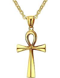 ステンレススチール エジプト十字 アンク クロスペンダントネックレス ゴールドメッキ 20インチチェーン