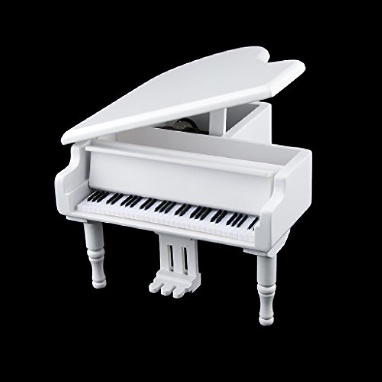 Fityle 高品質 時計 仕掛け ピアノ オルゴール メロディー 子供 贈り物 2色13パタン選べる - ホワイト, エーデルワイス