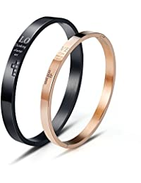 Wolentty His and Hers Matching Couples Bracelets Stainless Steel Love Cross Couple Bracelet for Men Women Gifts