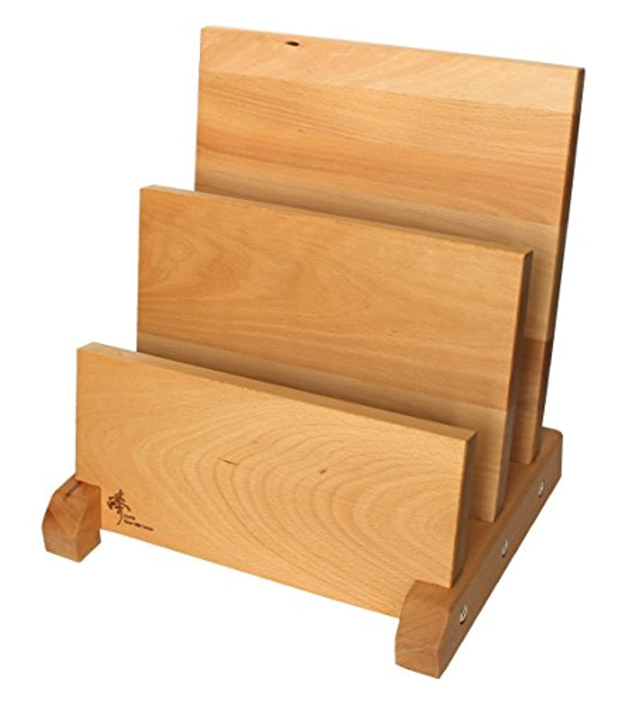 Zhen磁気ナイフ木製ブロック、ソリッドBeech木製ナチュラルラッカー仕上げ、3行、シルバー