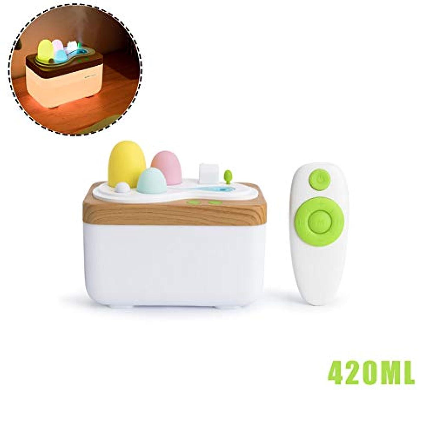 小屋原告担当者リモコン420mlアロマセラピー用エッセンシャルオイルディフューザー、超音波アロマディフューザーヨガオフィススパ寝室用ミスト加湿器をクールします。