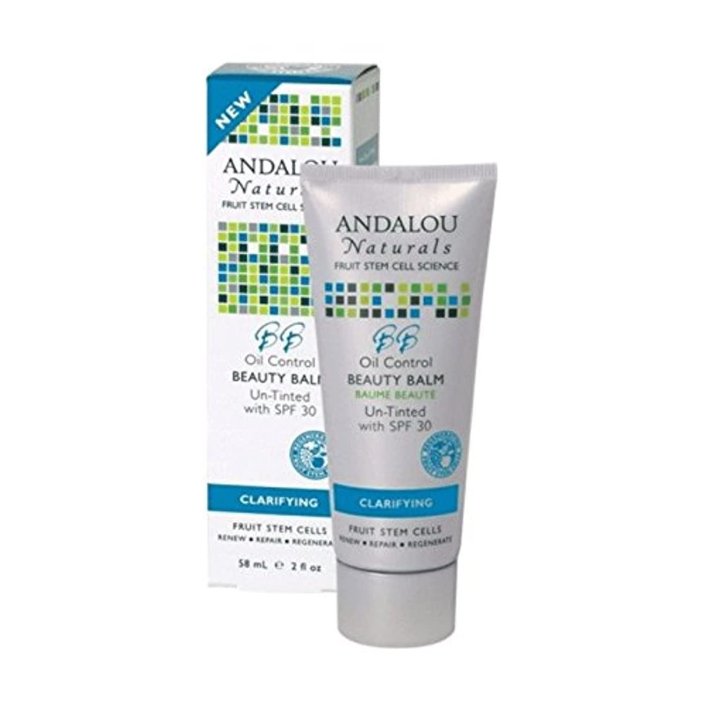 表面失礼なつかいますAndalou Oil Control Beauty Balm Un-Tinted SPF 30 58ml (Pack of 2) - アンダロウオイルコントロール美容バーム未着色Spf 30 58ミリリットル (x2)...