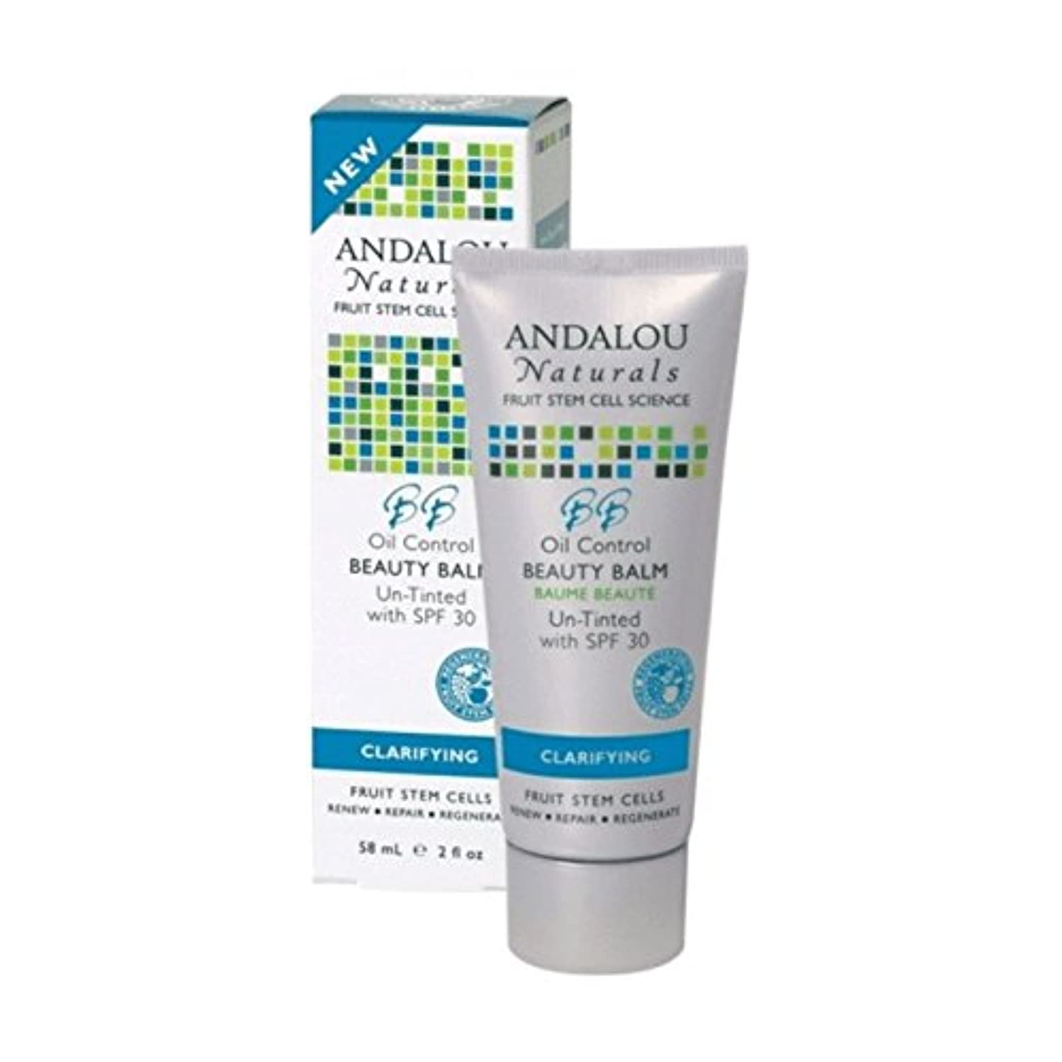 弁護人地球インポートAndalou Oil Control Beauty Balm Un-Tinted SPF 30 58ml (Pack of 2) - アンダロウオイルコントロール美容バーム未着色Spf 30 58ミリリットル (x2)...