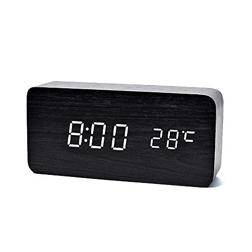 デジタル LED 目覚し時計 FIBISONIC 置き時計 アラームクロック 多機能 音声感知 温度計 USB給電 木目調 おしゃれ インテリア プレゼント (黒・白字)
