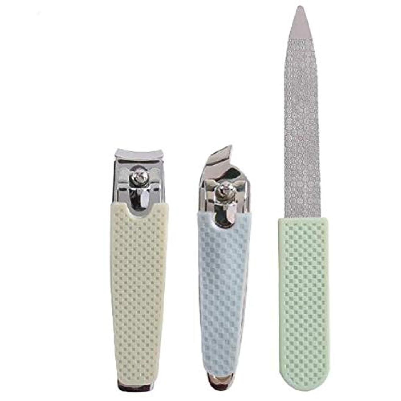 クリーナー貢献するに話す爪切りセット-3点入り 爪切り 爪やすり 爪磨き 爪とぎ 飛び散り防止 ステンレス製 カバー付き 手足用