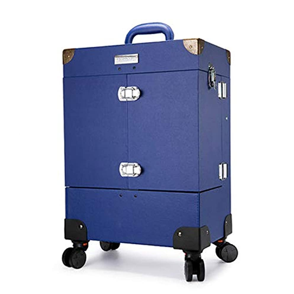 孤独パフ目に見えるプロ専用 ネイリスト クローゼット スーツケース ネイル収納 メイクボックス キャリーバッグ ヘアメイク ネイル 大容量 軽量 高品質 多機能 プロ I-JL-3505T-BL