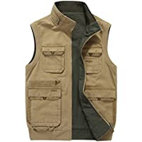Gihuo Men's Reversible Outdoor Pockets Fishing Safari Travel Vest Jacket