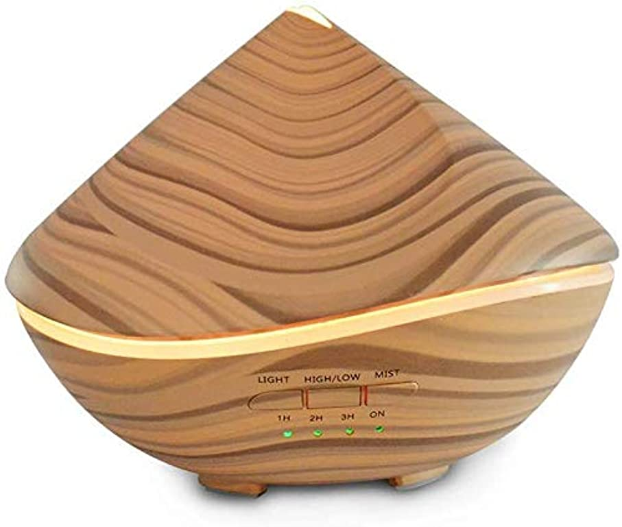 指令パテ用語集アロマセラピー用の エッセンシャルオイルディフューザー300ml、大アロマ超音波クールミスト加湿器-木目がなだめるようなナイトライト-ホーム&ラージルーム用の静かなディフューザーホームデコレーション