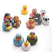 Fun Express Christmas Nativity Scene Rubber Duckie Ducky Duck Toy (12 Piece) [並行輸入品]