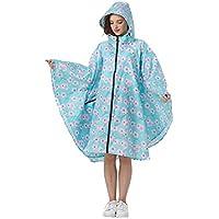 Women's Stylish Polyester Waterproof Rain Poncho Free Size Colorful Raincoat Hood Zipper